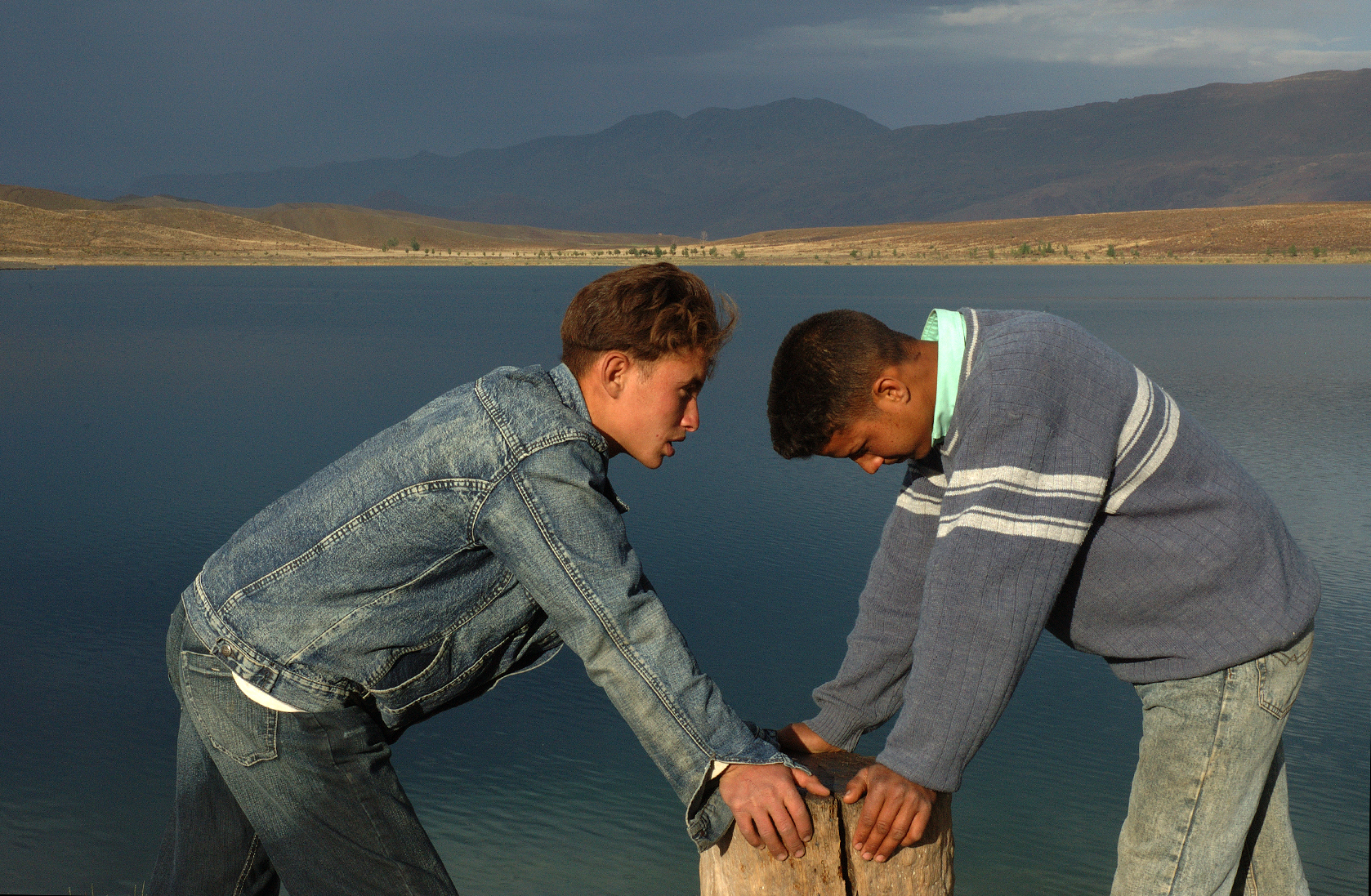 Mohammed and friend visiting a nearby lake for the first time.