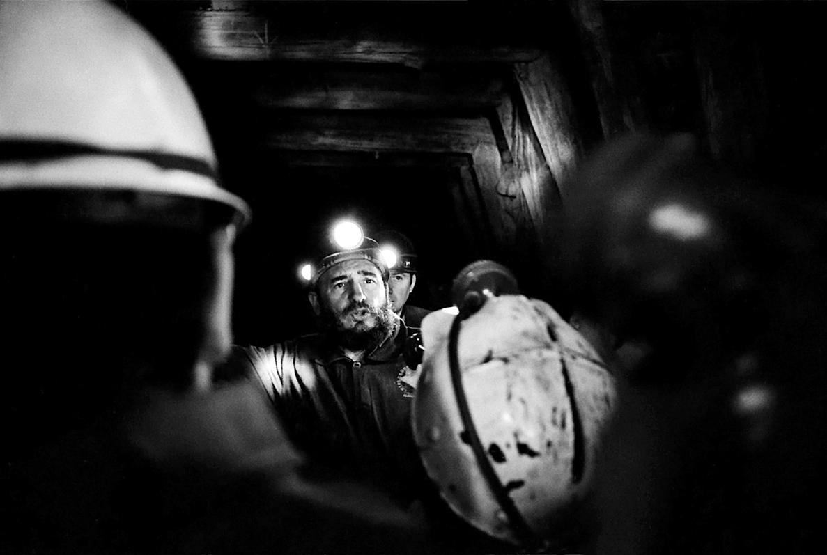 Fidel Castro in a coal mine near Concepción, Chile, 1971