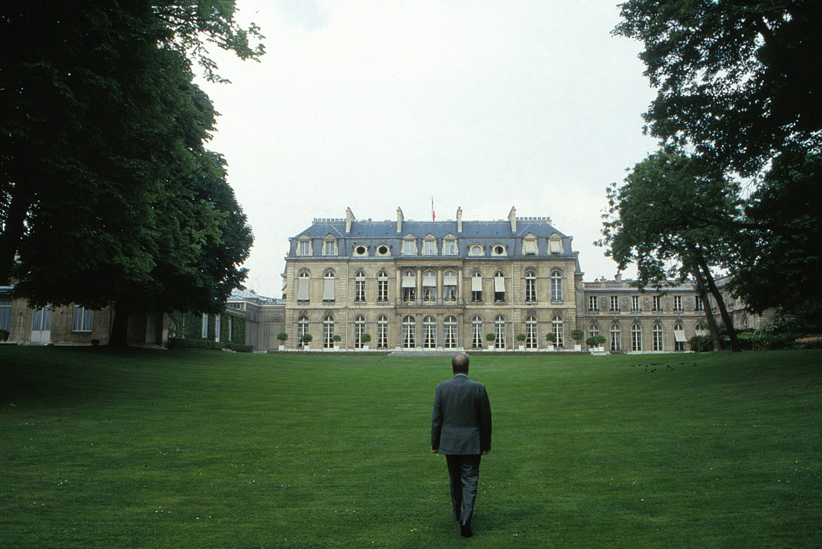 President MItterrand at the Elysee Palace gardens