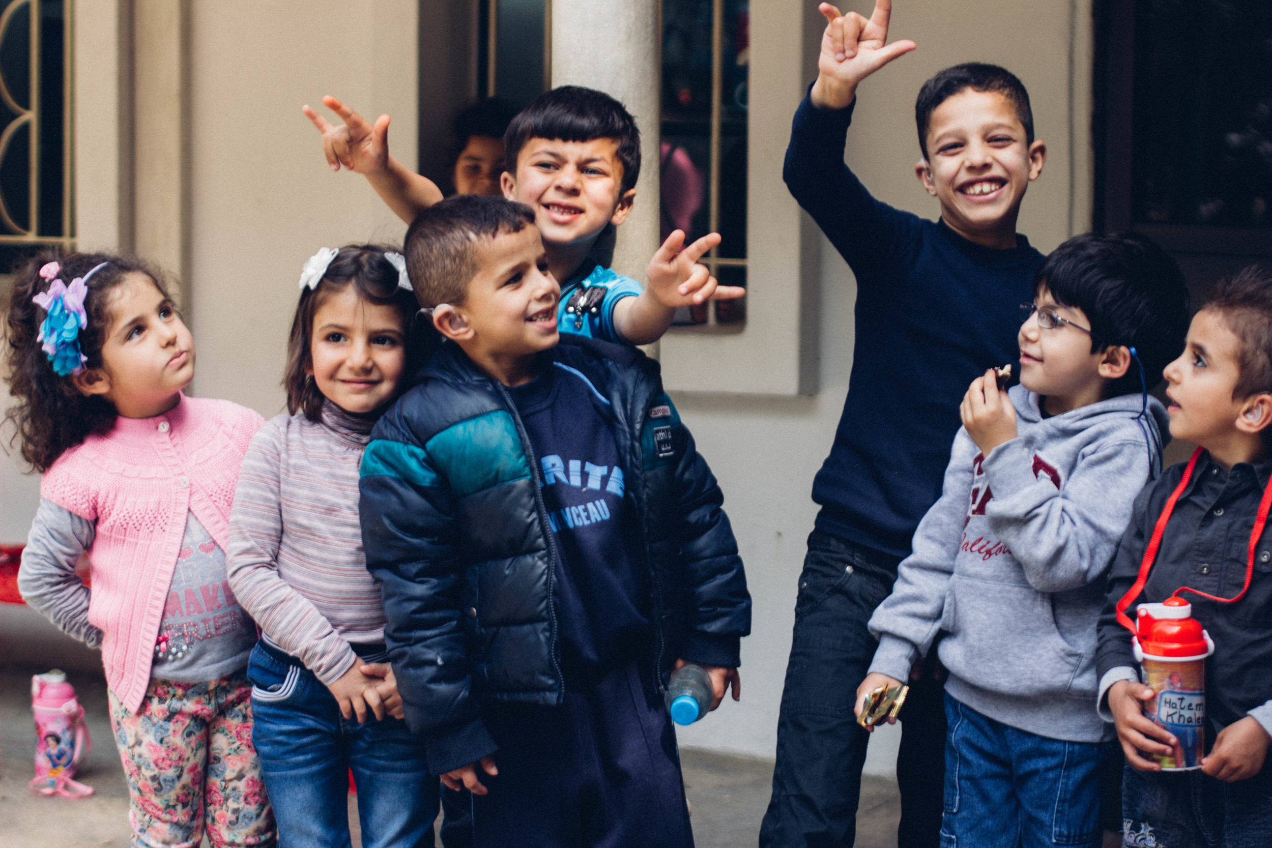 Some of the children at Father Andeweg Institute for the Deaf, Lebanon