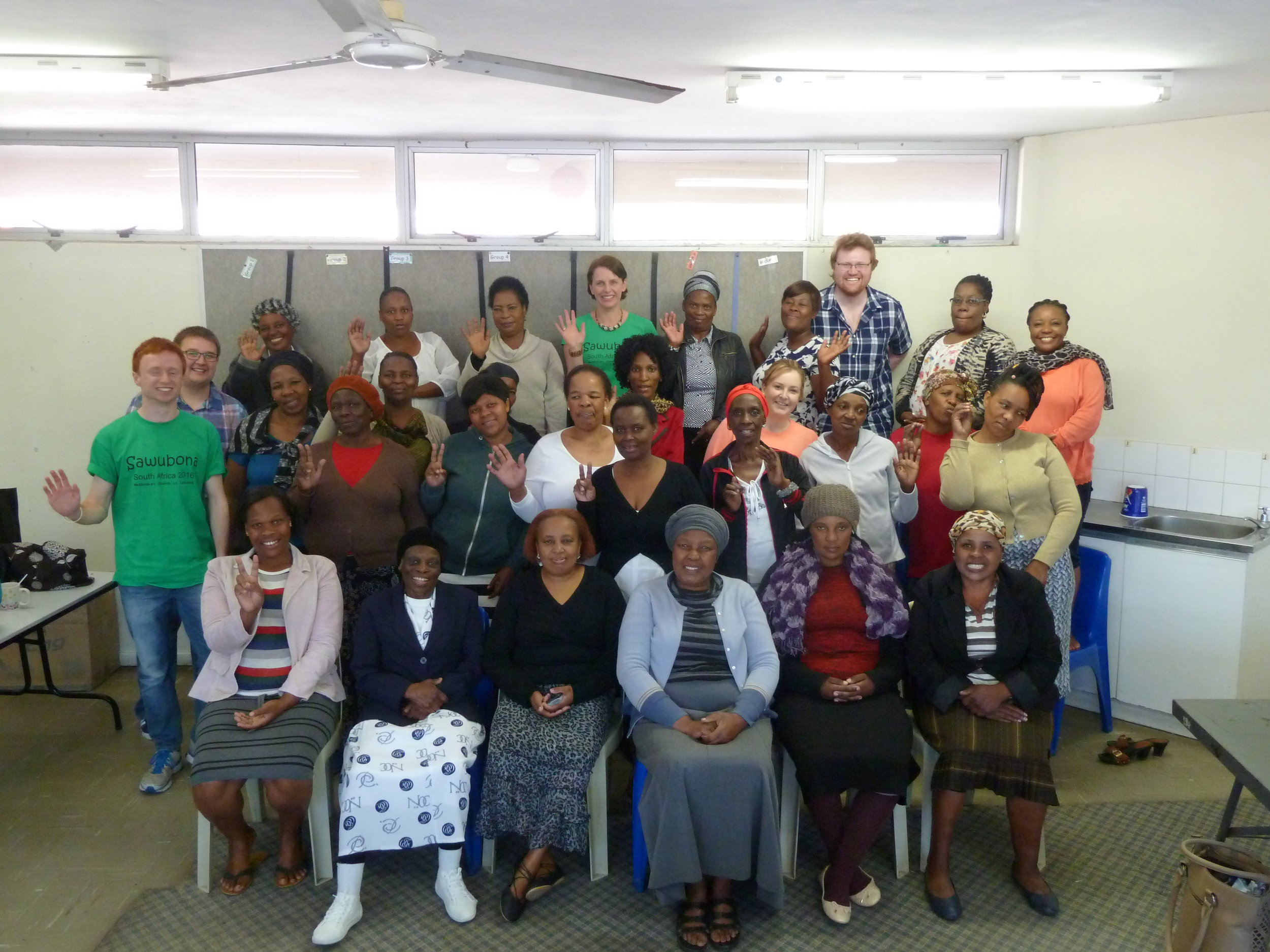 Some of the MCI team with one of the ladies support groups at Phakamisa