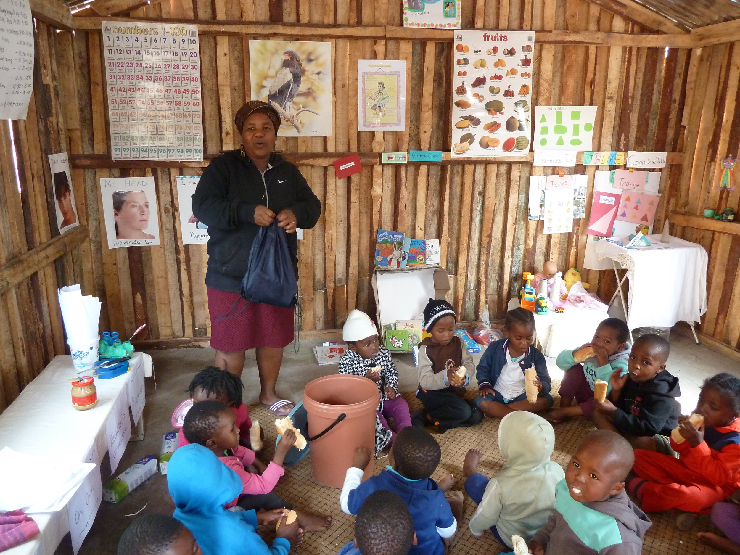 One of the Phakamisa pre-school classes in a local village