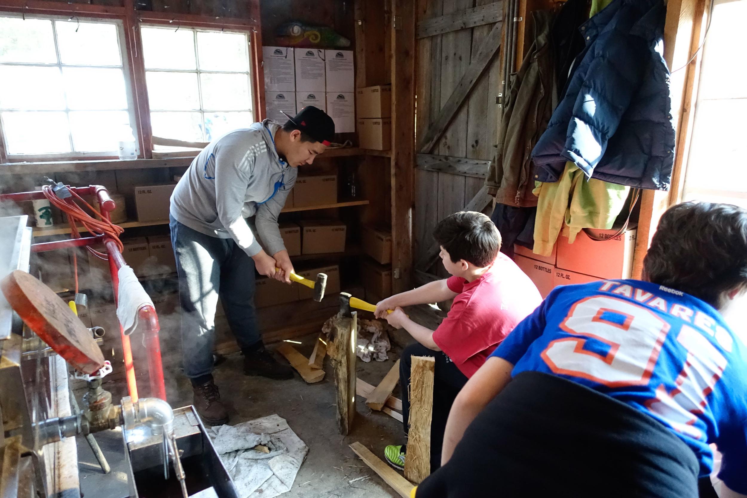 Splitting wood to keep the evaporator running hot