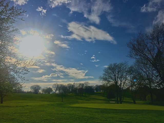 #views . Didn't notice until posting that there is a little blue orb above the practice #green. I believe it was my grandfather blessing us with his spirit. I'm proud to be the third generation of players to call this stately classic #golfcourse in #thehills east of #pittsburgh #home. #pittsburghgolf #greenlife #golflife #golfislife #greenoaks #clubgolf #spring