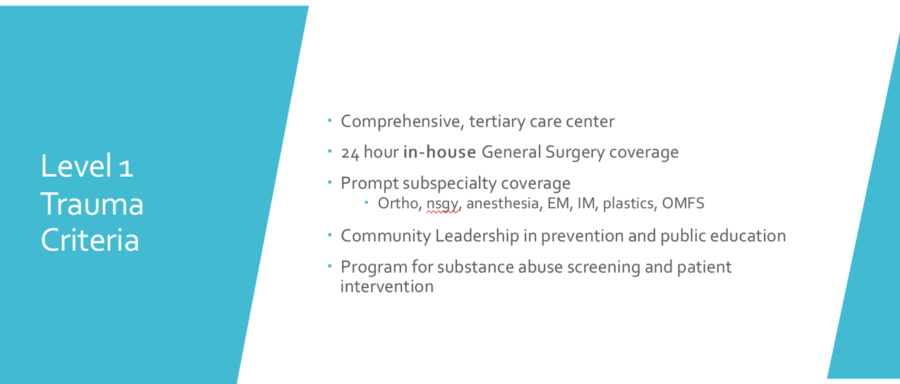 These are the Criteria for a medical center to have a Level 1 Trauma designation.