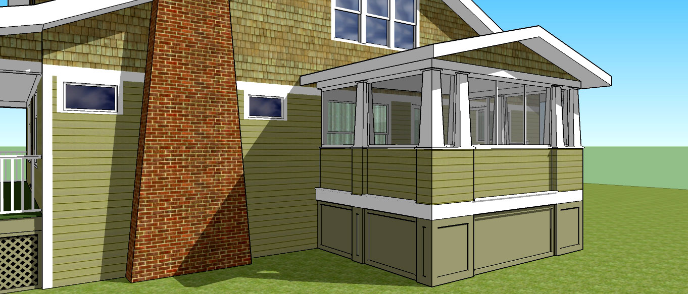 Step Two:  A rendering of the proposed addition (or porch) to scale as it would relate to the exisiting structure.