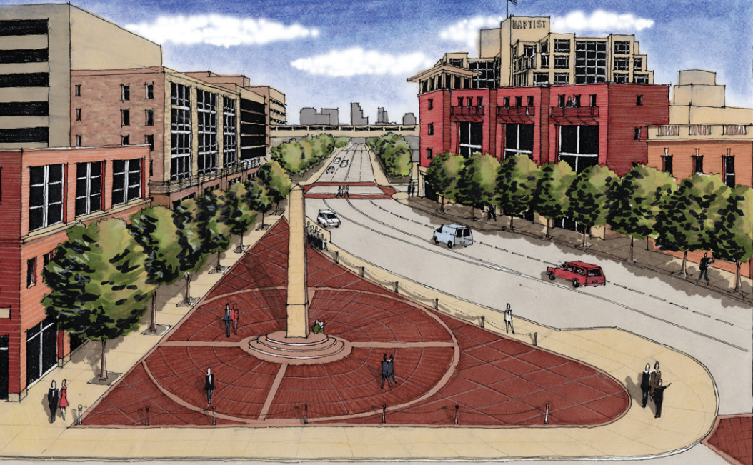 Metro's vision for a potential use for the triangle, identified as an open space deficiency area.