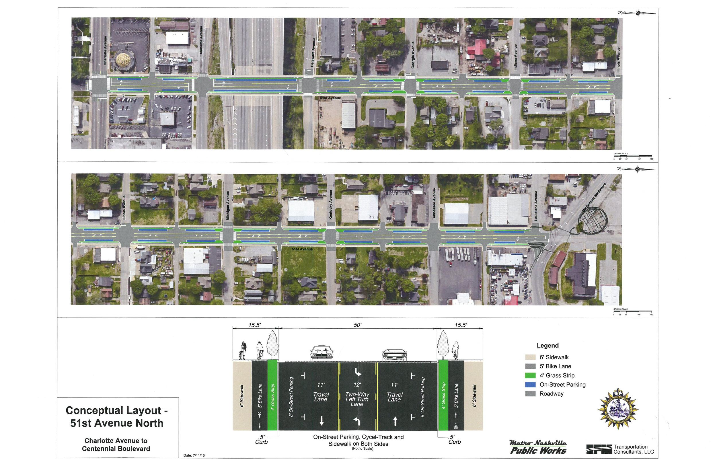 At the July Nations Neighborhood Meeting a road diet was announced by council woman  Mary Carolyn Roberts . It shows a plan similar to one TURBO tackled back in 2014. We are happy to have facilitated a conversation that has brought such progress!
