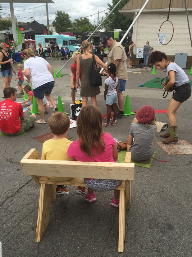 2016 TURBO Tomato Fest Installation - Tactical urbanism furniture built on site pictured