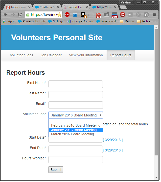"""Selecting """"Volunteer Job"""" gets you these options"""