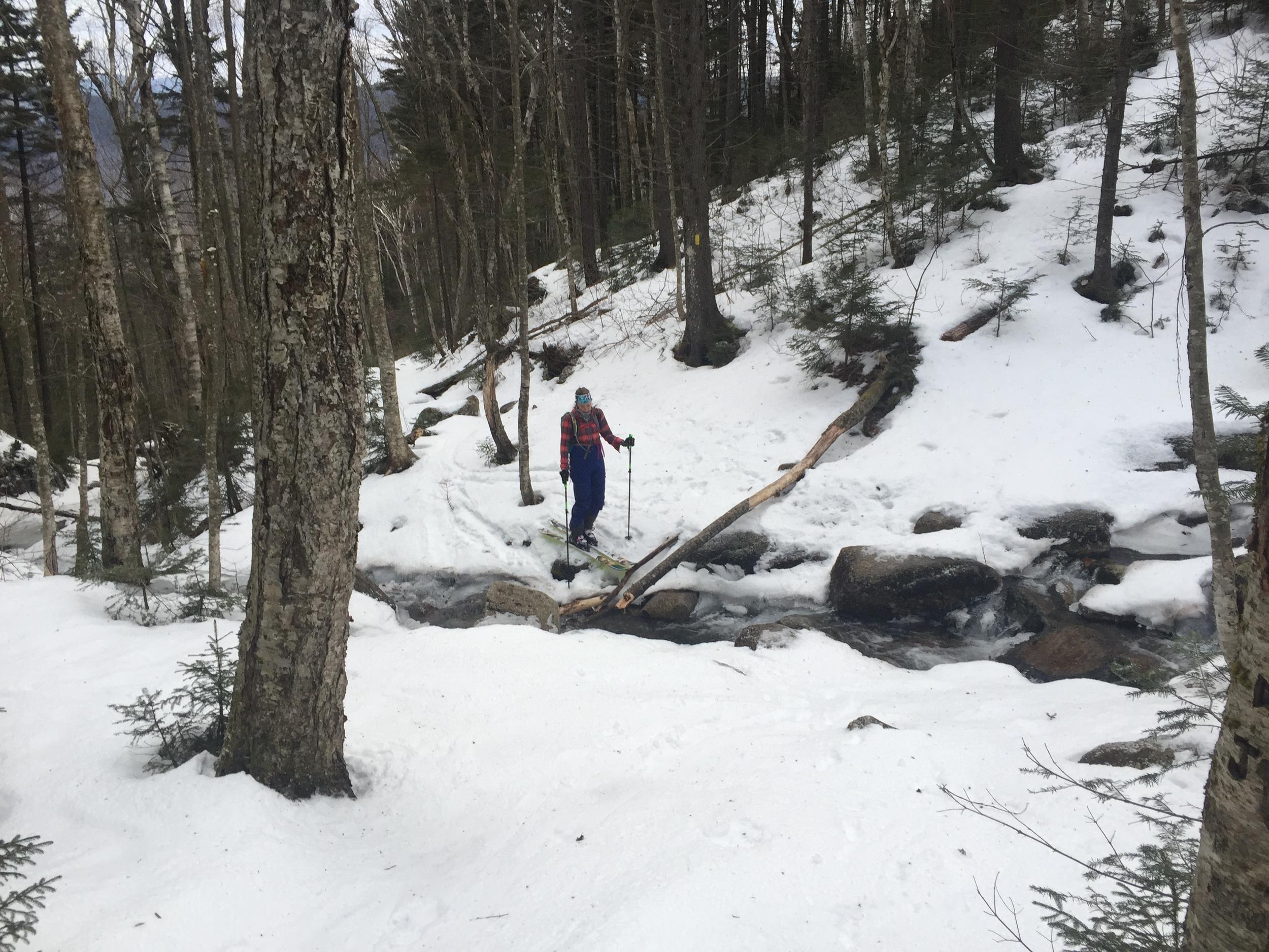 Rare open stream crossings in February.