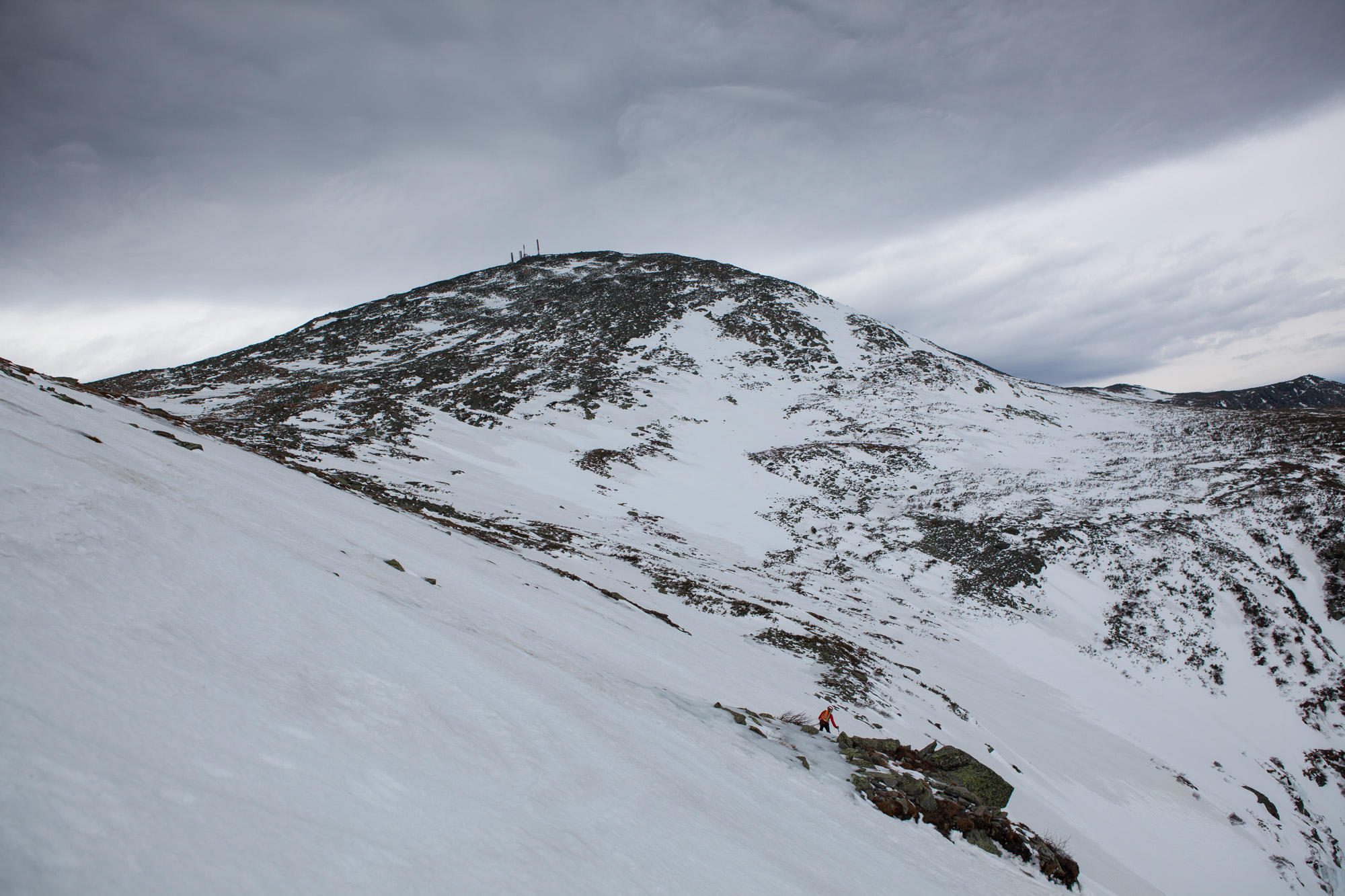 Top of the Chute, looking up to the Summit of Mount Washington.