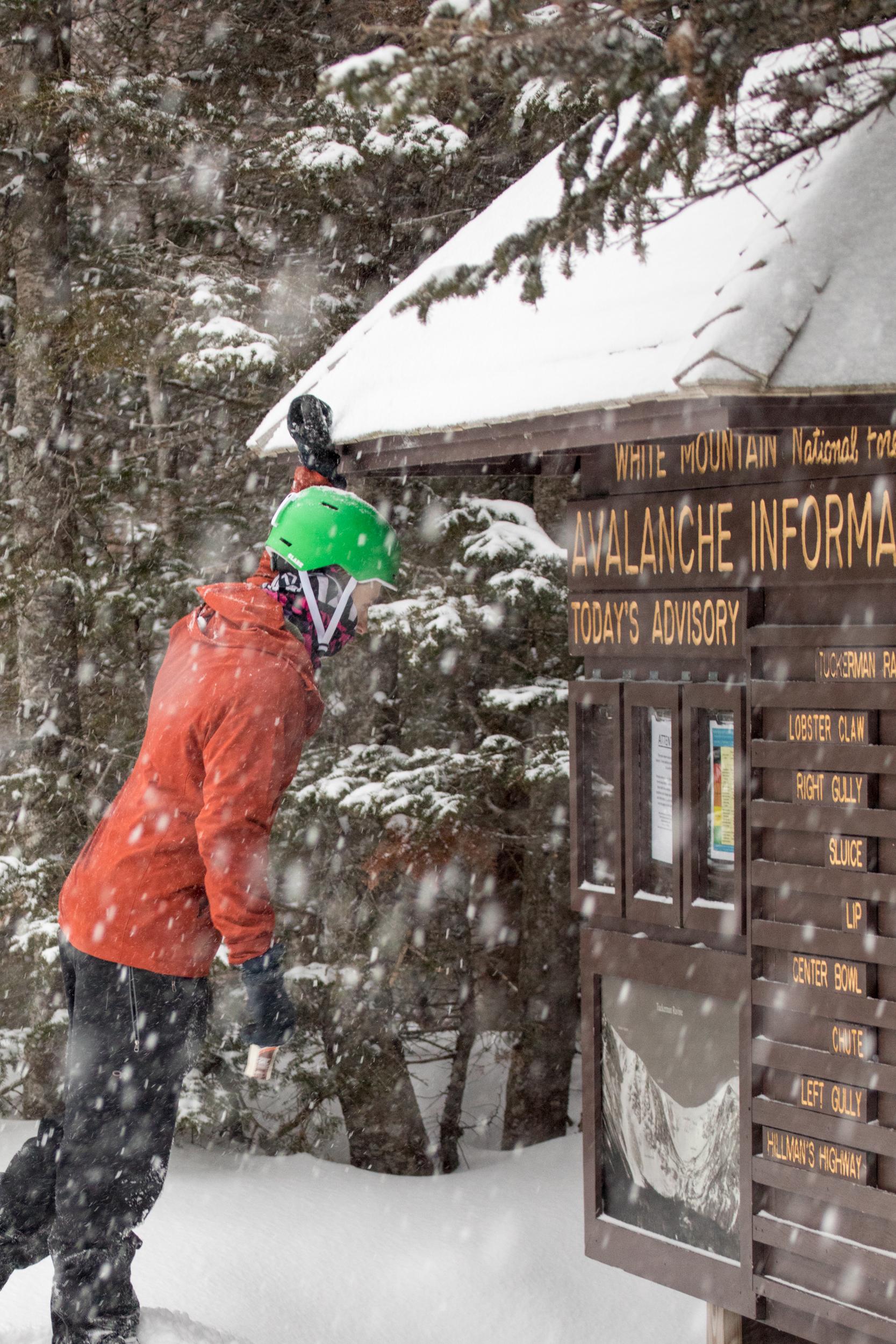 Alex Leich checking the Avalanche Board