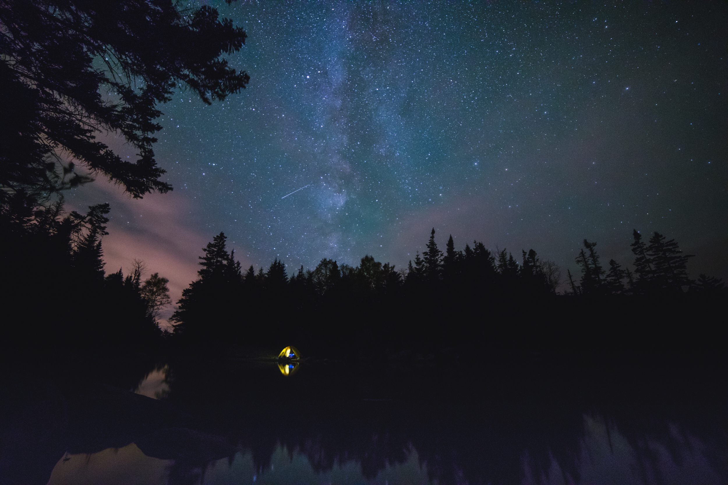 Stargazing at Flat Mountain Pond, NH.