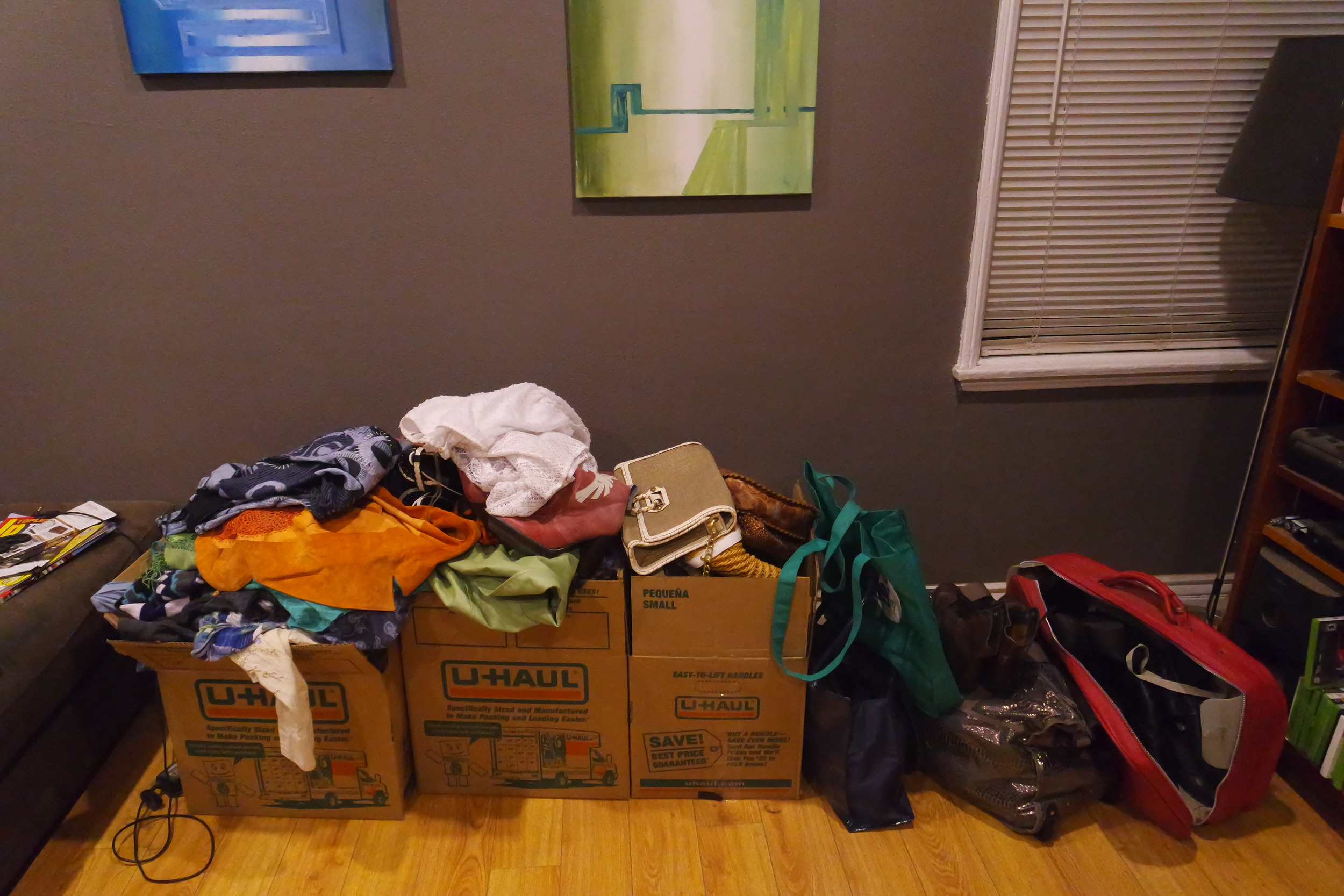 Purged items from the closet clean out - later we added two more large-sized bags as well.