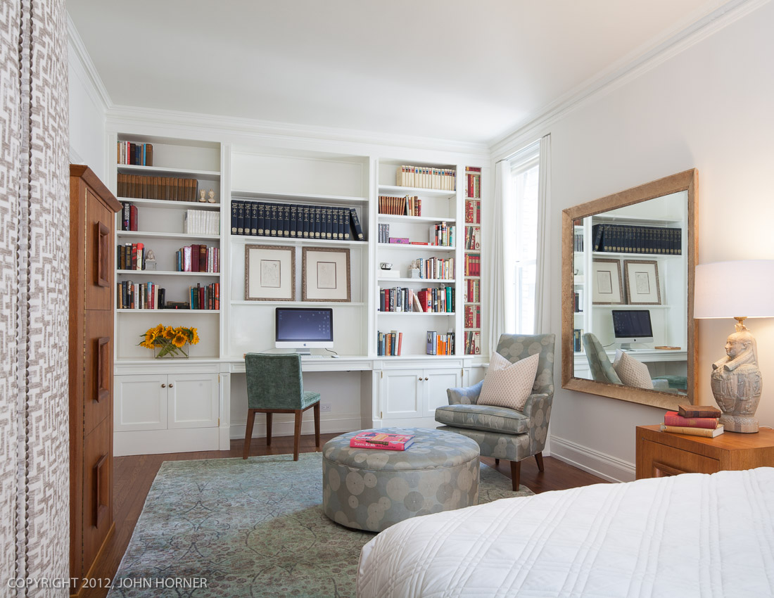 Built-ins complete the office area of this master bedroom.
