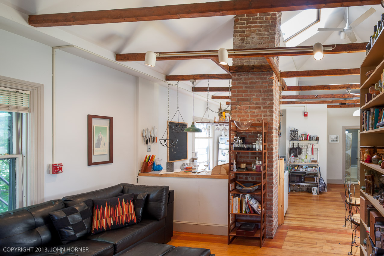 Apartment transformed into modern open loft space.