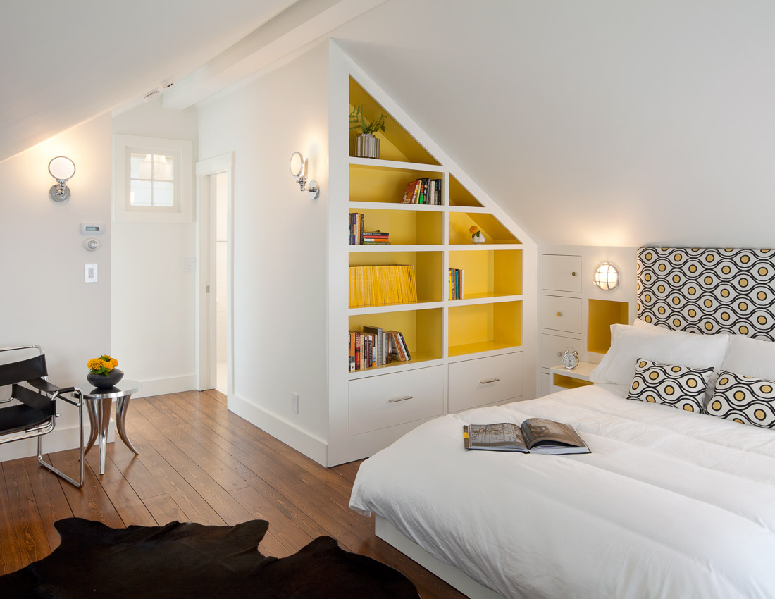 Custom-built cabinetry in master bedroom of parsonage.