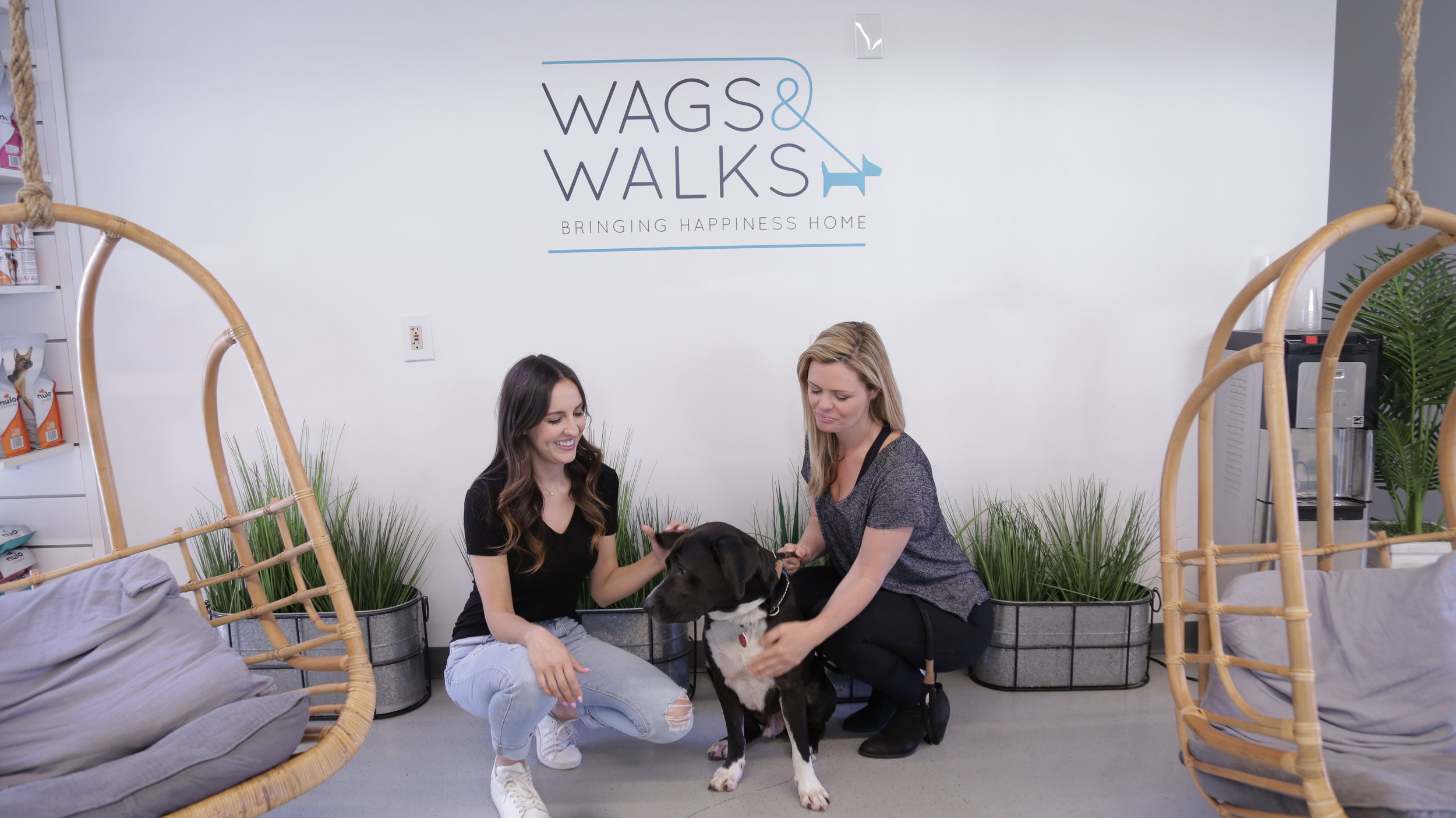 Esther Lane and Joanna Duff pose with Oreo, a dog featured in the video who is still up for adoption through Wag & Walks.