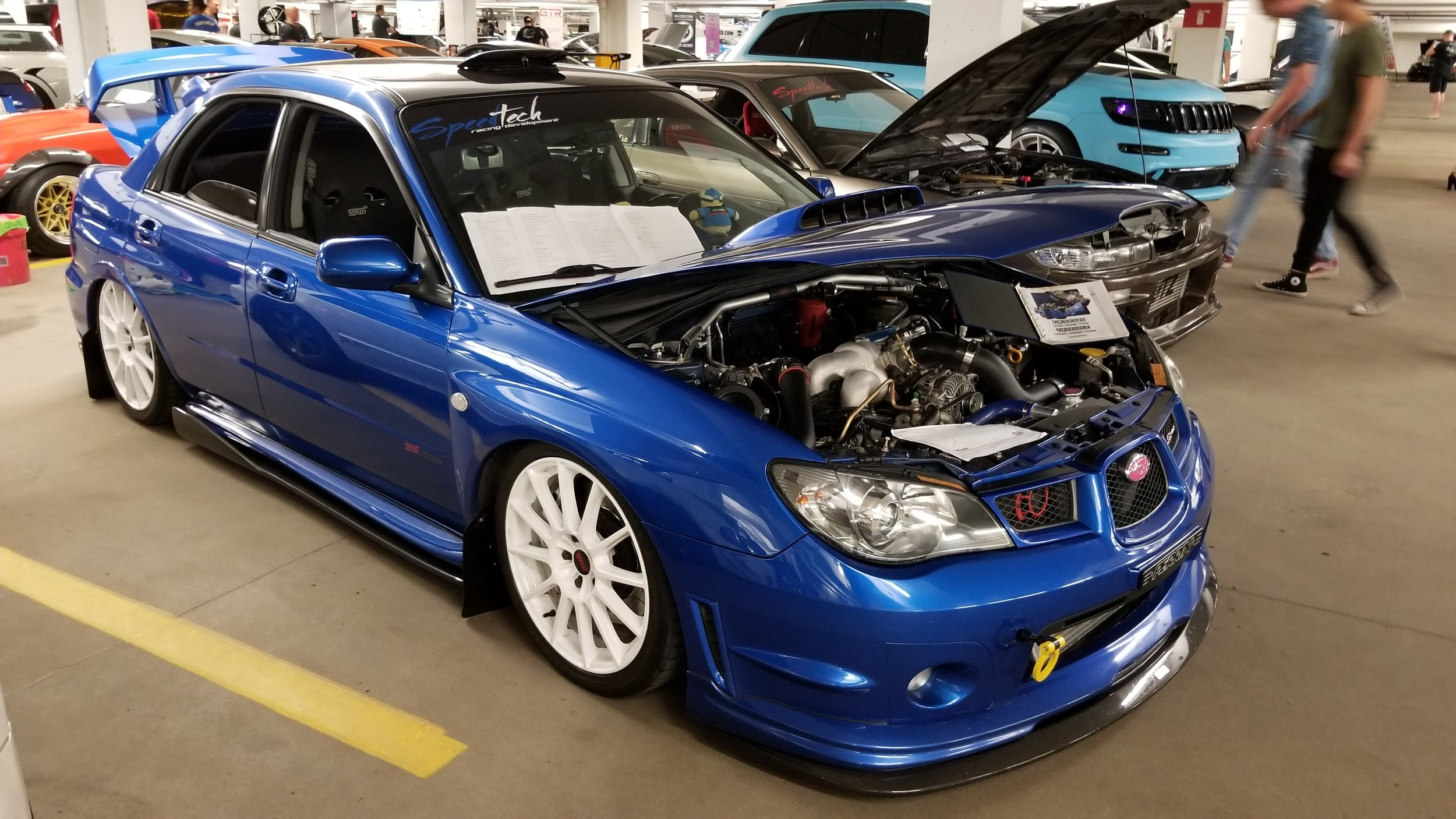 Customer Subaru STI with Tomei Crate Engine and Air Lift suspension