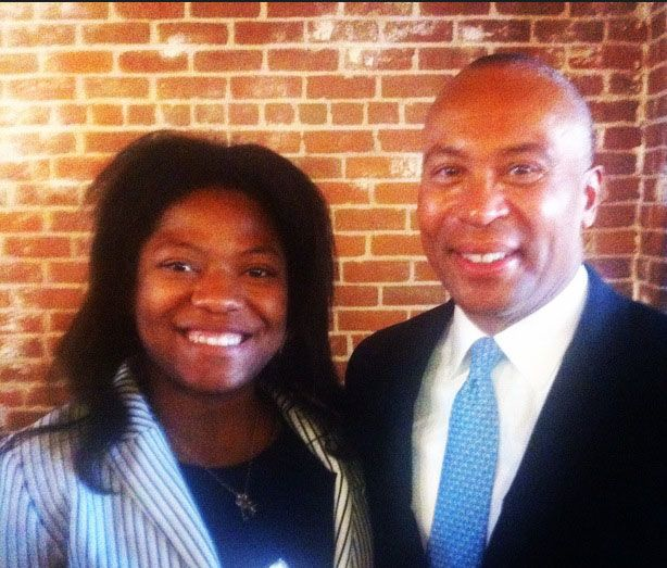 2014 CVP Intern Rodania Saint Fleur with Fmr. Governor Deval Patrick at Fraunhofer Grand Opening.