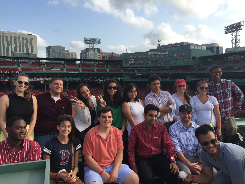The 2015 group atop the Green Monster at Fenway before a Red Sox game.