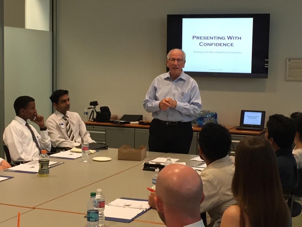 Jack Rossin leads a presentation workshop.