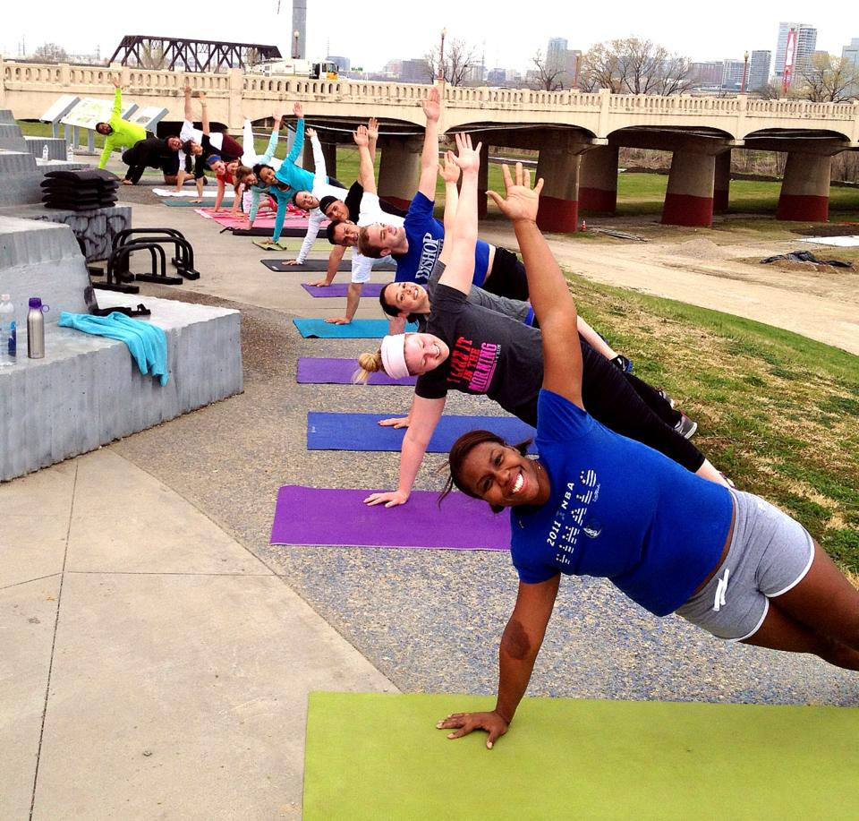 One of our outdoor workouts! Taking it to the Trinity Levee for some fresh air.