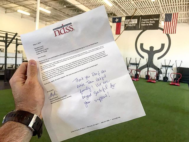 Wanted to share this letter for @ndssorg with y'all... . Thank you to our entire Team OAKFIT Family, especially if you participated and/or donated to our 3/21 fundraising event. . In support of one of our favorite dudes, Mr. @justcharliefrench . If you don't know, March 21 is World Down Syndrome Day. A day which folks around the world organize and participate in activities and events to raise public awareness and create one voice for advocating the rights, inclusions, and well being of people with Down syndrome. . . OAKFIT | Community Rooted. Results Driven. . Special Shoutout and Thank You to our Friends who partnered with us on this event: @lasalmasrotas and @tacodeli . #oakfit #dallasfitness #strengthtraining #fitfam #downsydrome #ndss #teamoakfit