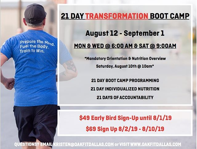IT'S BAAAAAACK! . Join us for 3 short weeks so you can get to crushing your goals in the most effective way possible. . We're most known for our ability to achieve results and our incredible community of athletes. This low cost bootcamp is the easiest and quickest way to access BOTH. . No previous strength training experience necessary. We'll teach you everything you need to know in house! . This bootcamp includes a jump start nutrition program that's proven to decrease body fat % and lower inflammation (Spoiler Alert: you won't need to drink any juice!) . Comment below with questions or email Kristen@oakfitdallas.com . Purchase link in bio!