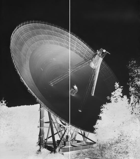 Image © Vera Lutter.  Radio Telescope, Effelsberg, XVI: September 13, 2013.  94 1/8 x 84 inches