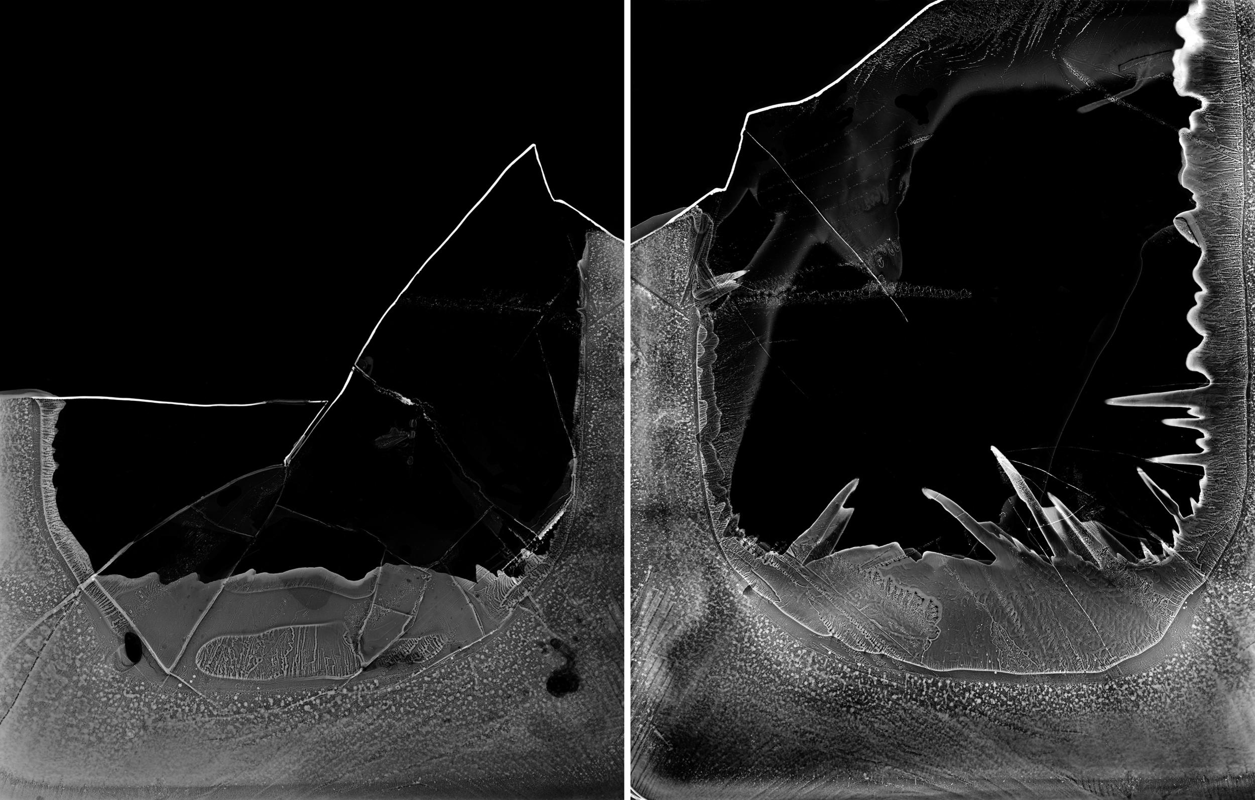 Image © Paula McCartney. Black Ice #1 and #2. Photograms