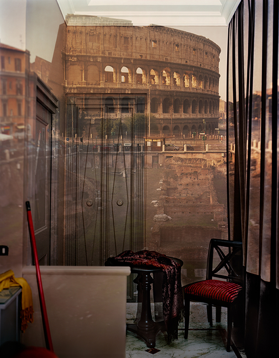 © Abelardo Morell. Camera Obscura,   Image of the Coliseum inside Room # 23 at the Hotel Gladiatori  , Rome, 2007.