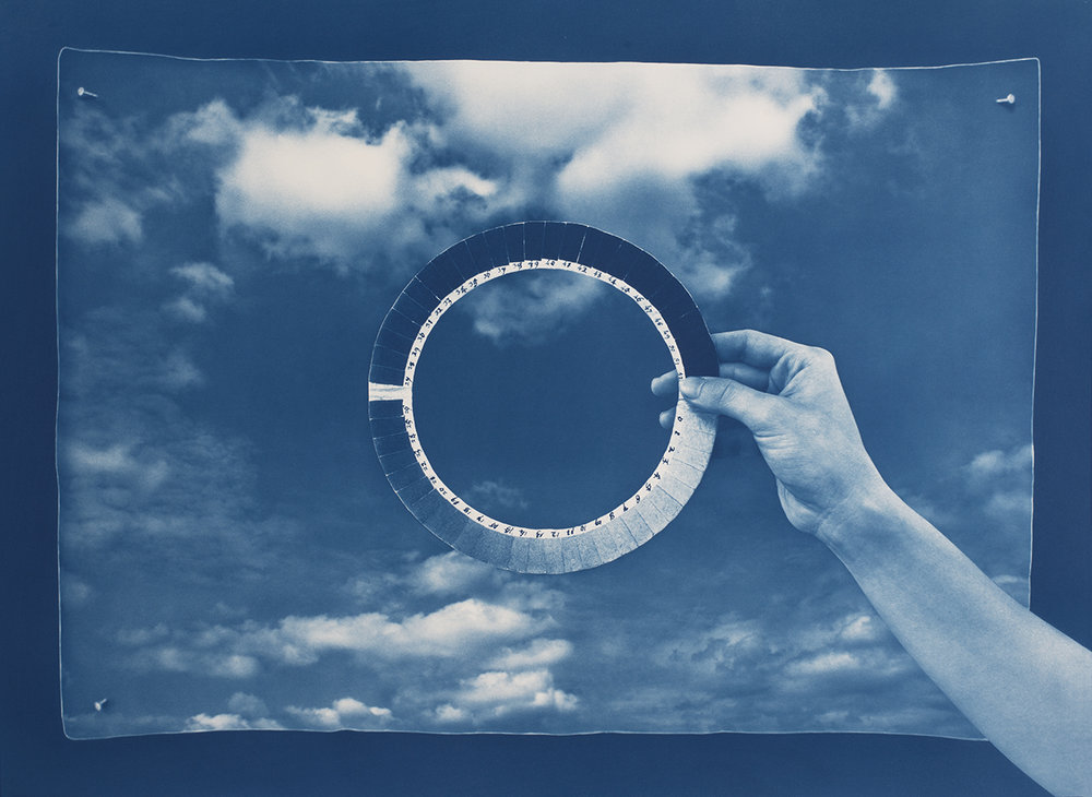 Image © Noah Doely.  Cyanometer , cyanotype on Arches paper, 28 x 38 in, 2017