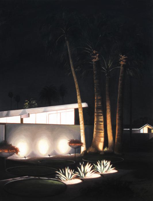 Three Agaves At Night
