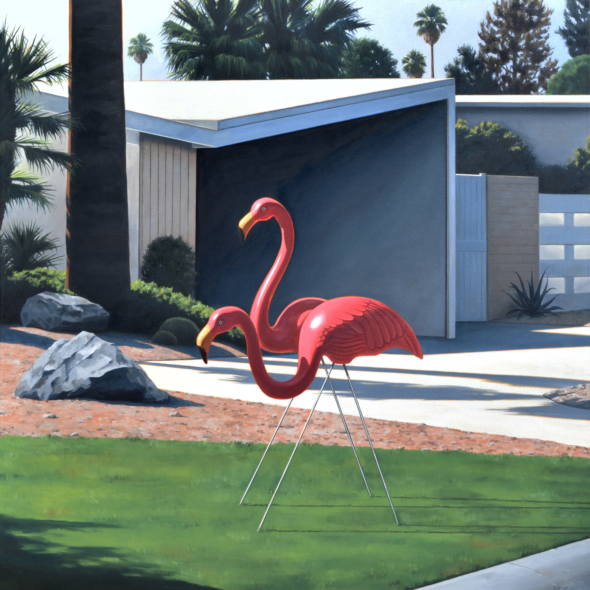 Morning Lawn Flamingos