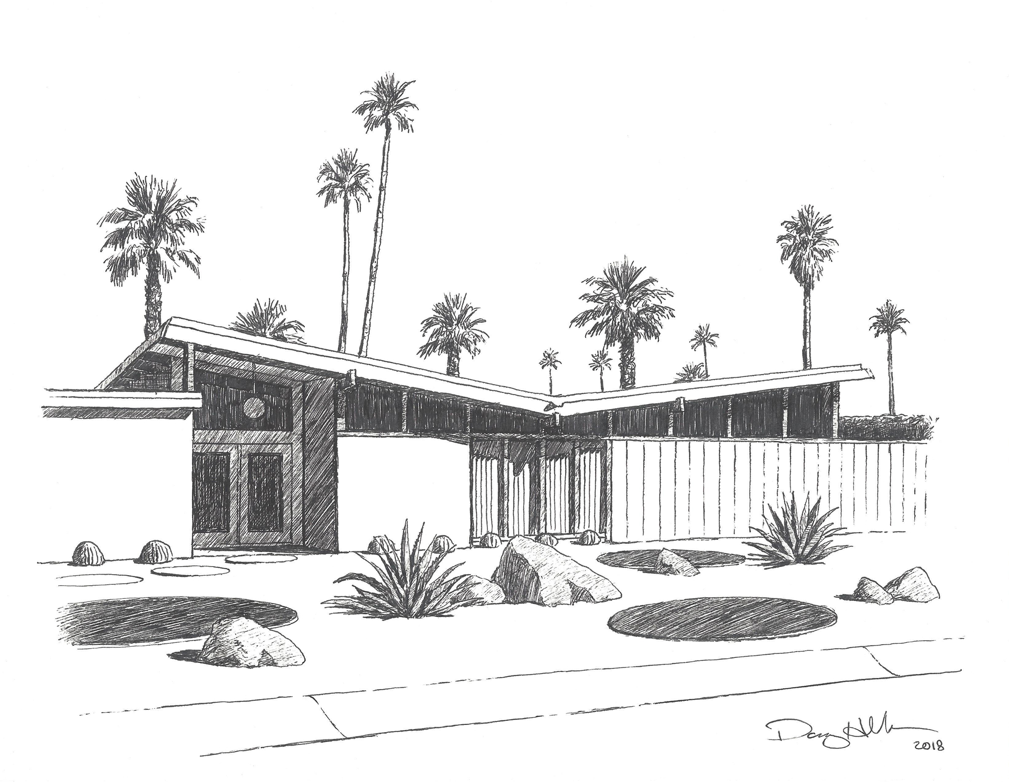 Palm Springs Butterfly Roof Drawing