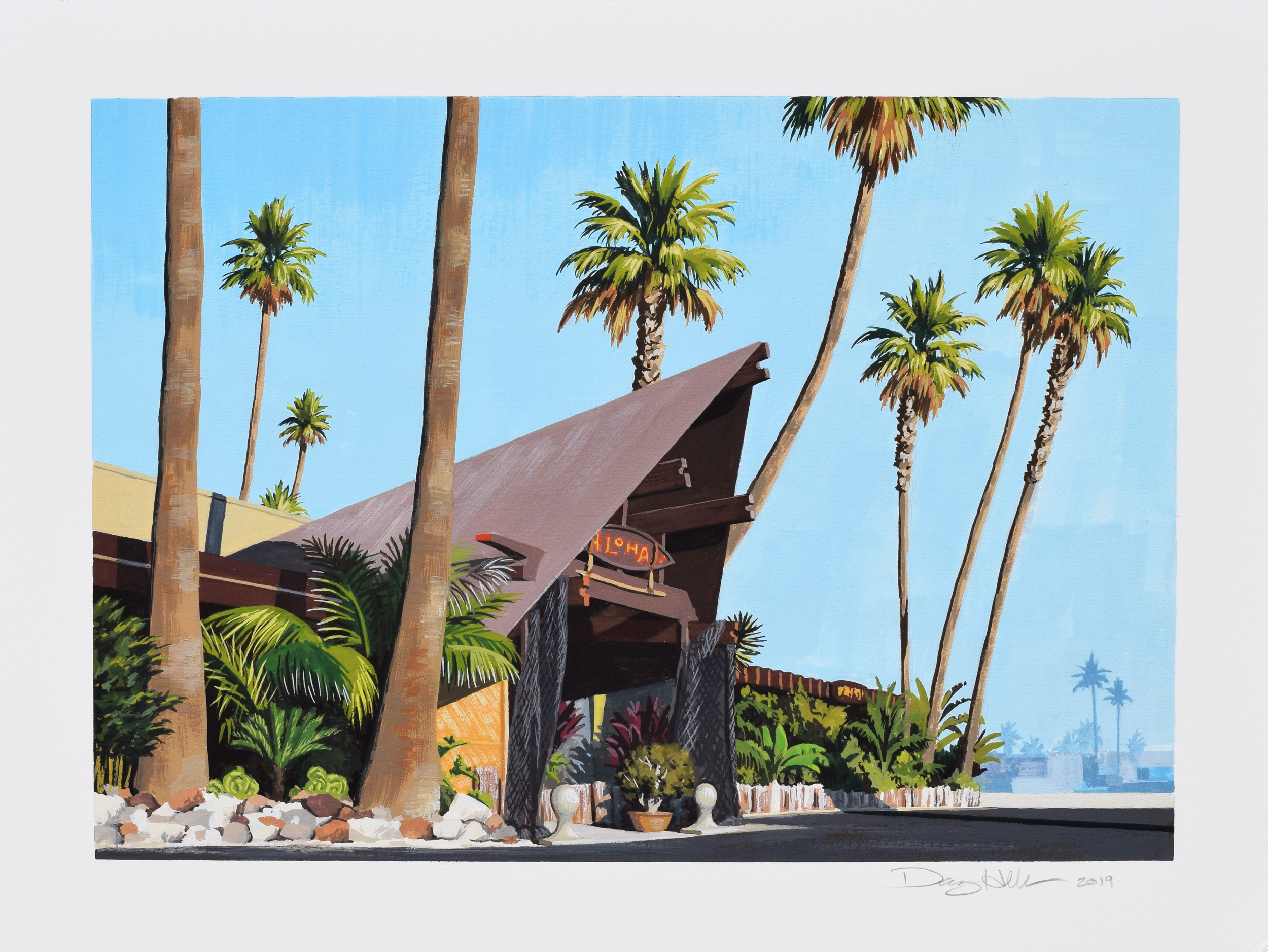 "Aloha Gouache , gouache on paper, 9x12,"" 2019"