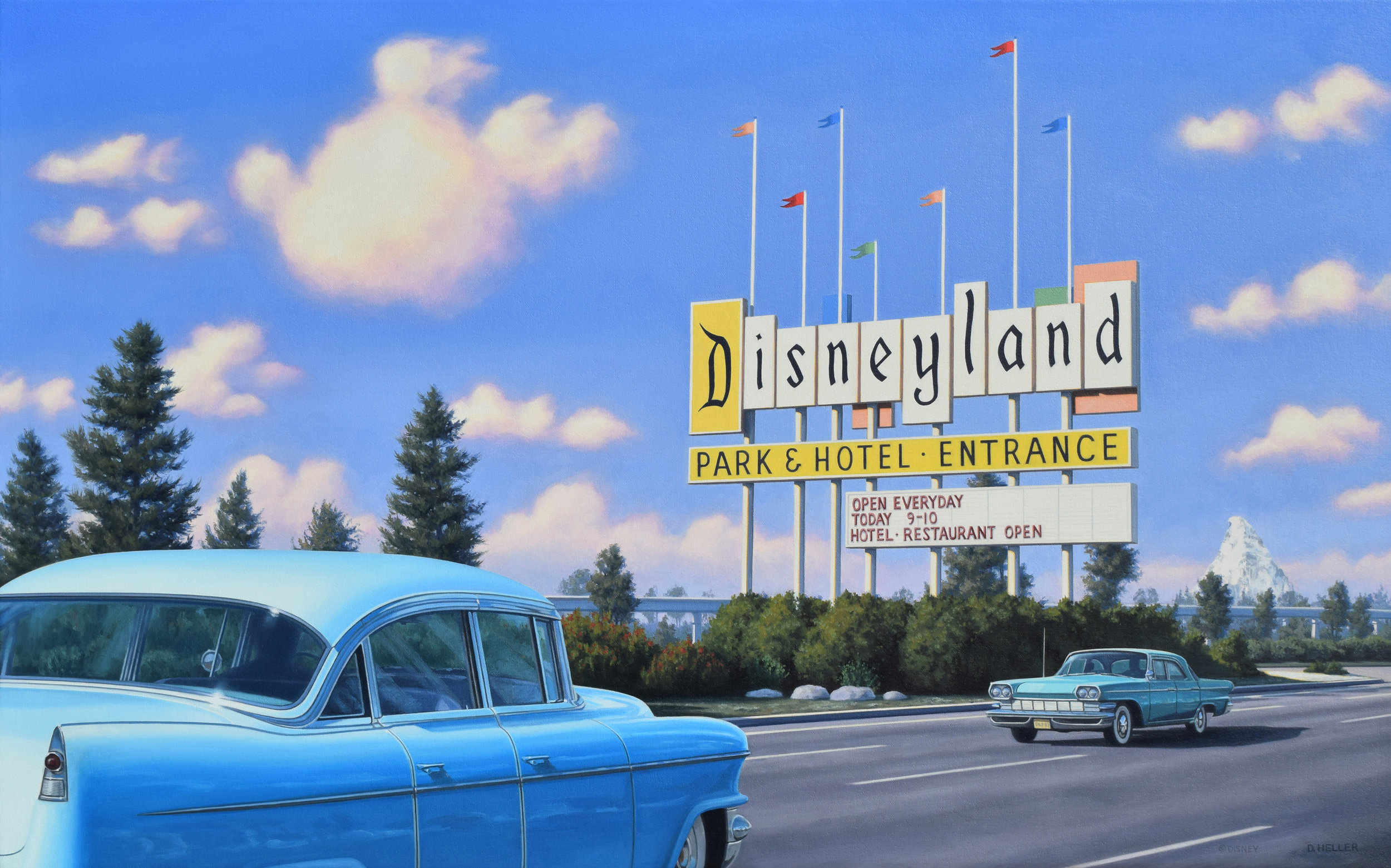 "Disneyland Sign , oil on canvas, 20x32,"" 2019"