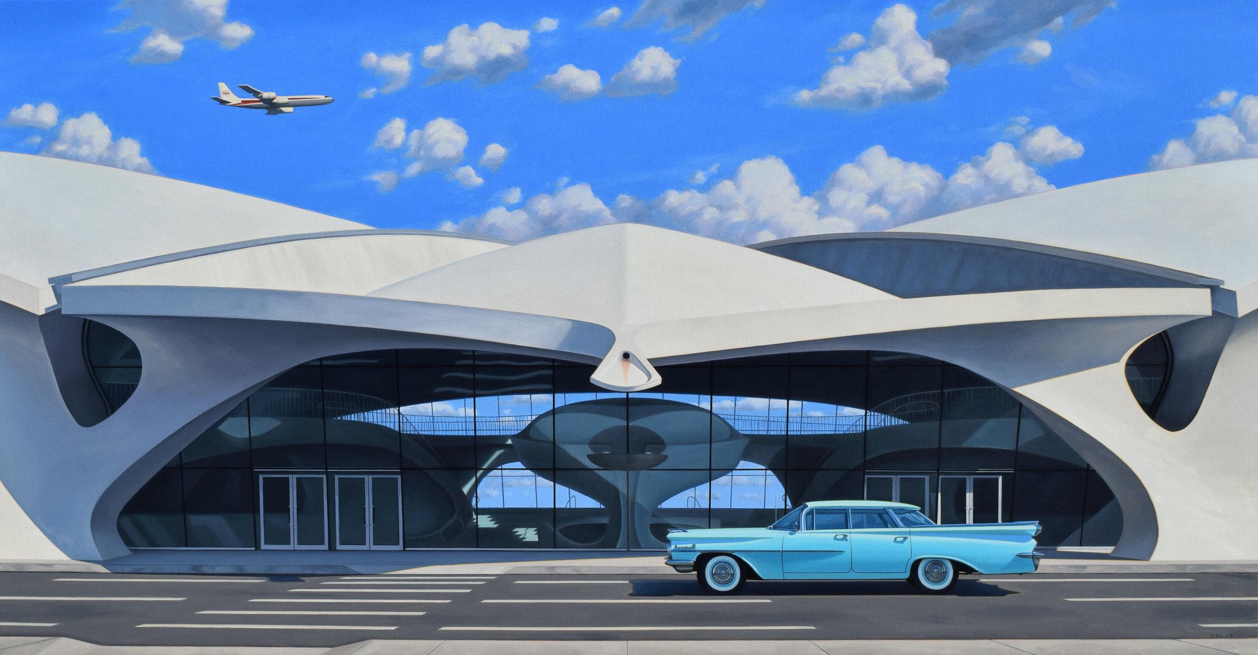"Flight Center , oil on canvas, 25x48,"" 2019"