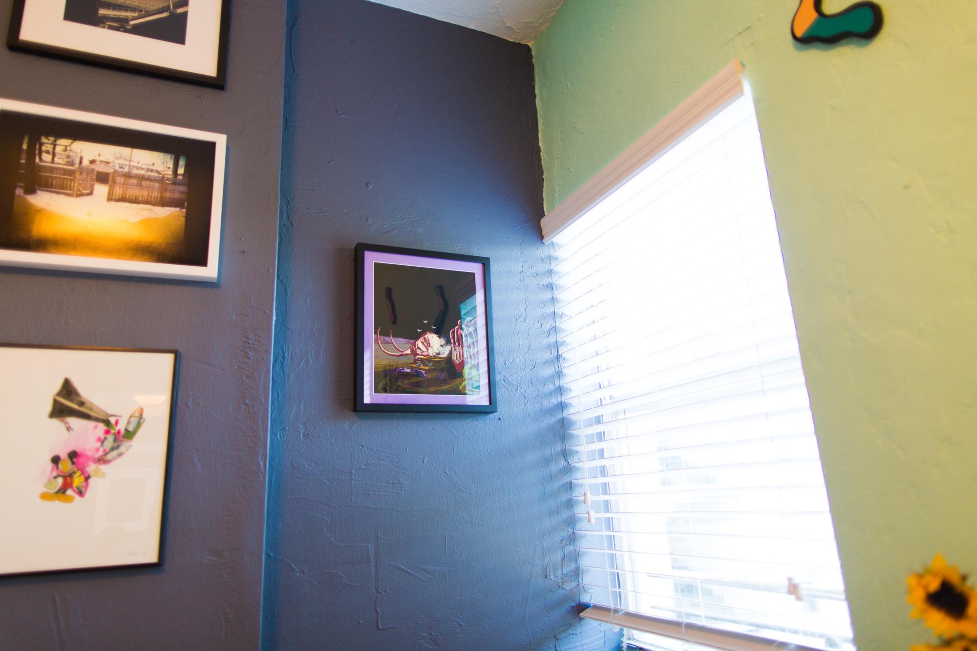 "(clockwise from bottom left) Untitled by Mina El Bakali via  Galerie 55Bellechasse , ""Wave"" by  Mark Reamy , print by Bryan Adams Douglas via  Heliotrope Prints"
