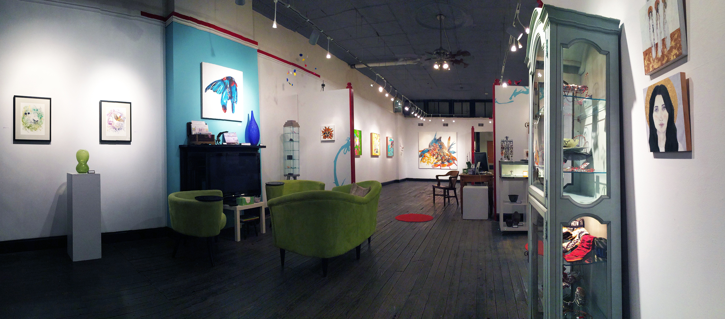 """Install shot from BoxHeart's 2016 """"Emergent Patterns"""" exhibition at their Pittsburgh gallery."""