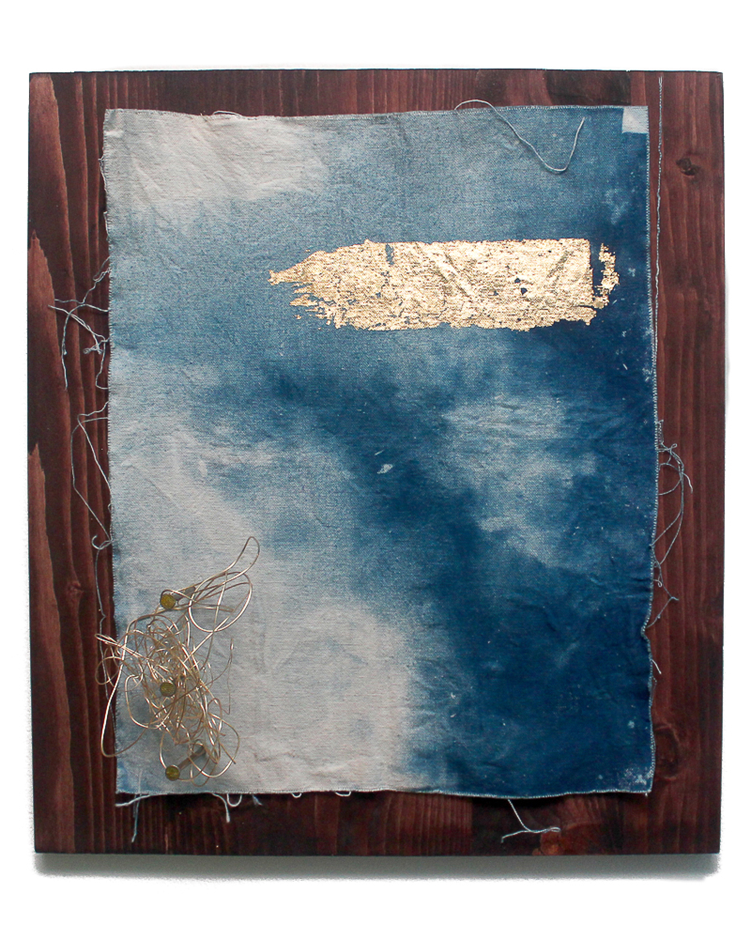 Jeremiah Morris - _Guess My Silver Lining is Gold_ - 16x20 - Cyanotype photographic print on canvas, gold leaf, brass wire, nails, wood - 2016 - $650.jpg