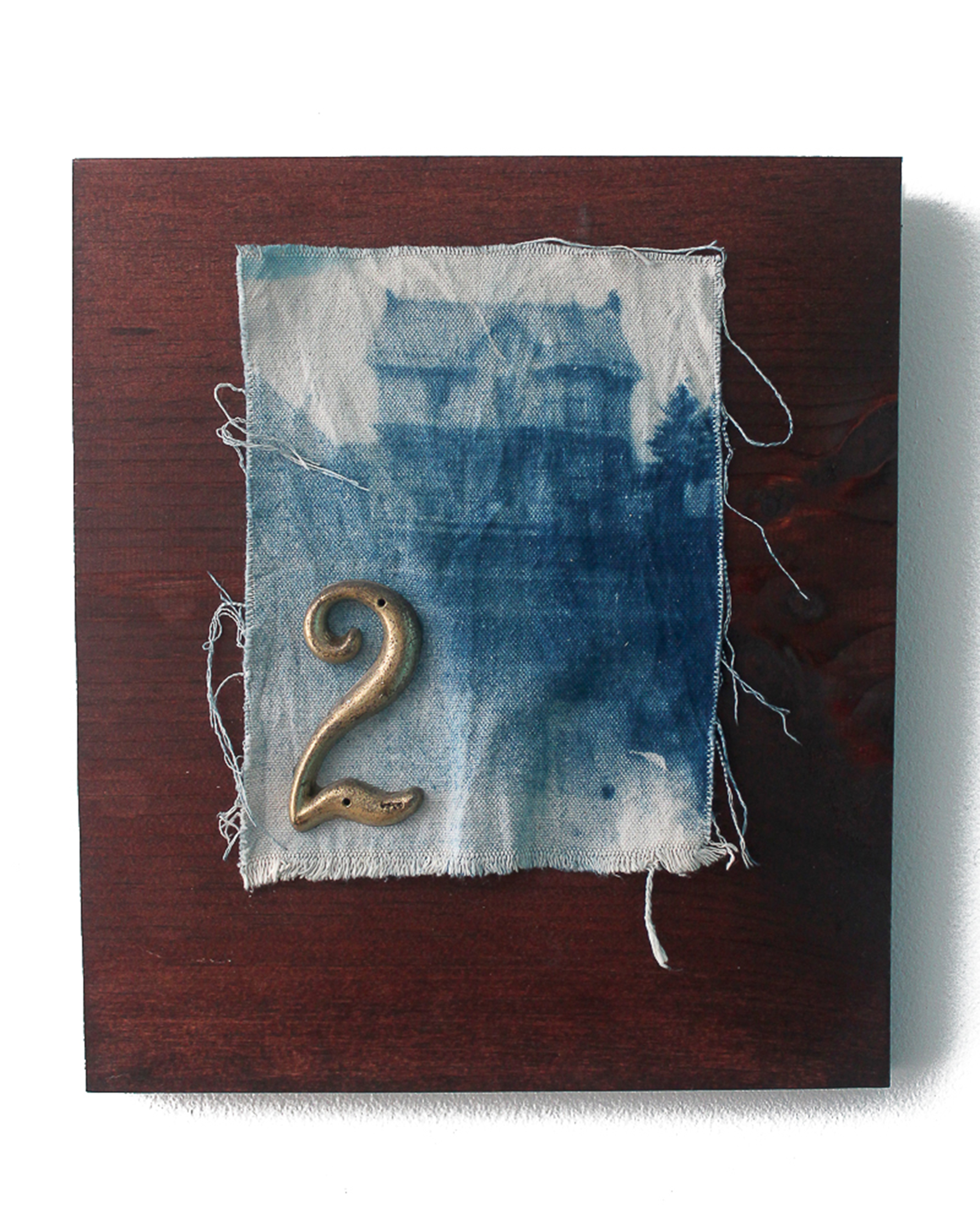 Jeremiah Morris - _The House that Hope Built_ - 8x10 - Cyanotype photographic print on cavas, found brass adornments, wood - 2016 - 325.jpg