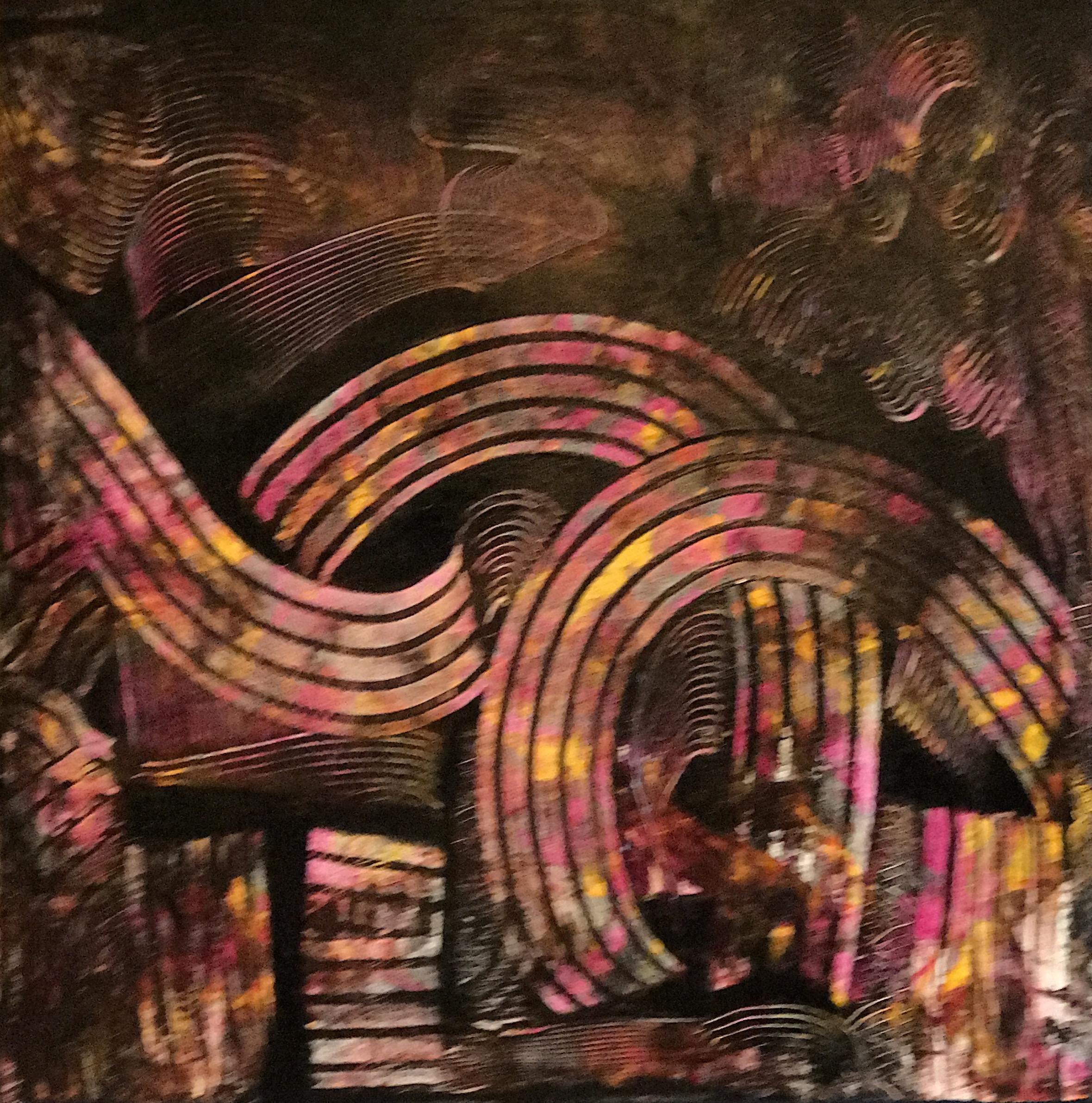 Sheila Cahill - _The Arcs of History_ - 30 x30 - Acrylic on canvas - 2018 - $900.JPG