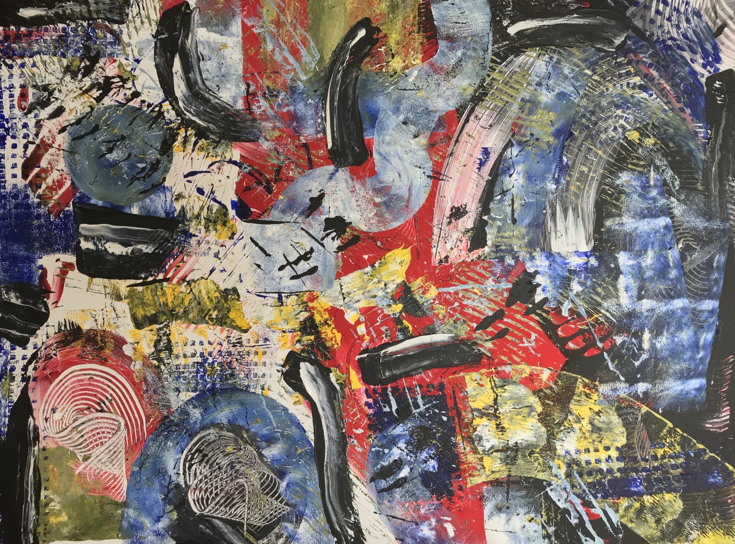 Sheila Cahill - _Thnking of JJ_ - 30 x 40 - Acrylic on canvas - 2018 - $2000.JPG