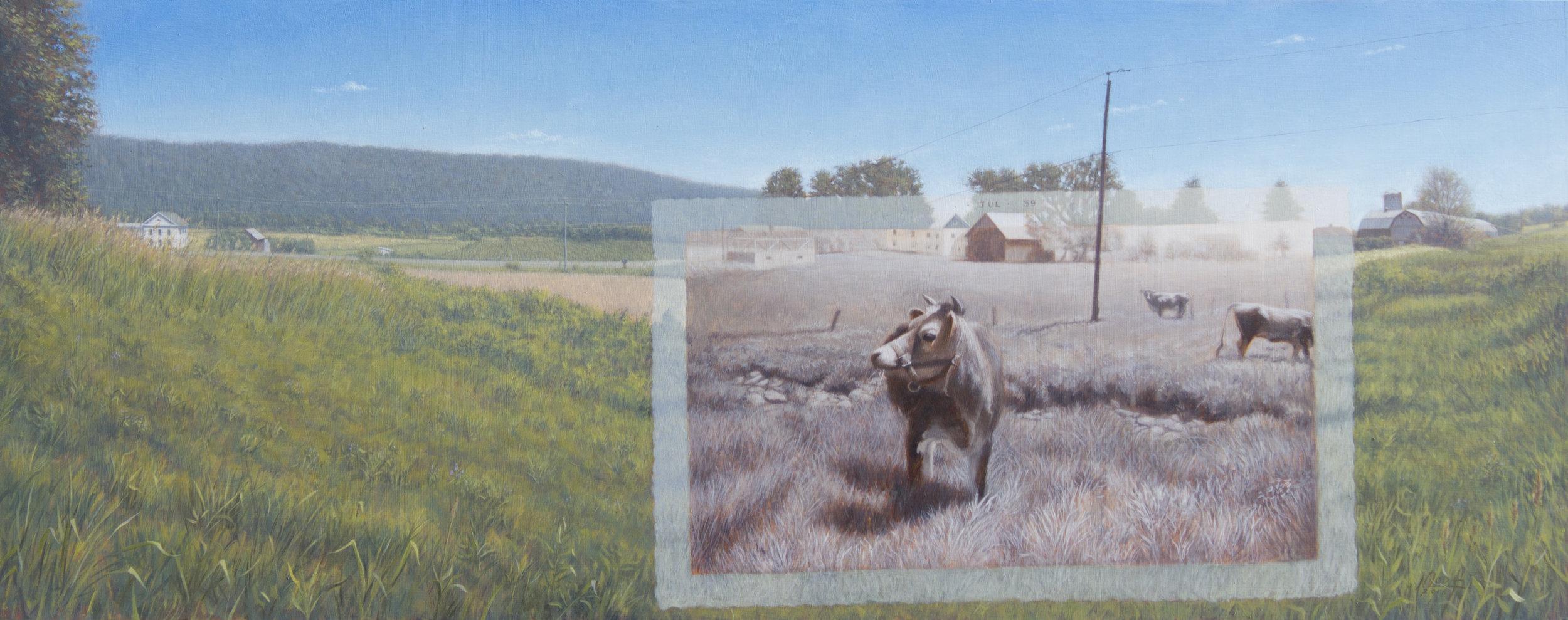 """The Jerseys Field 12"""" x 30"""", Oil on panel $1800.jpg"""