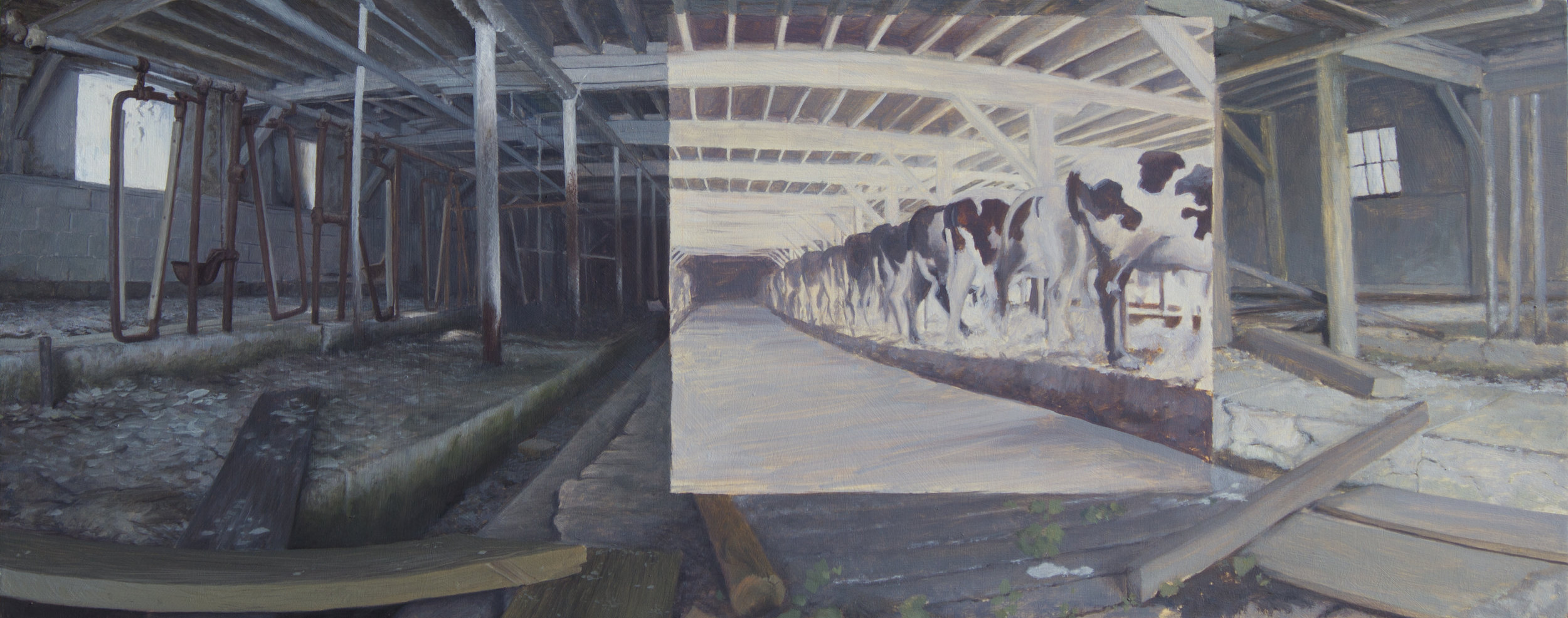 "Uncle Wrights Barn 12"" x 30"", Oil on panel  $1800.jpg"