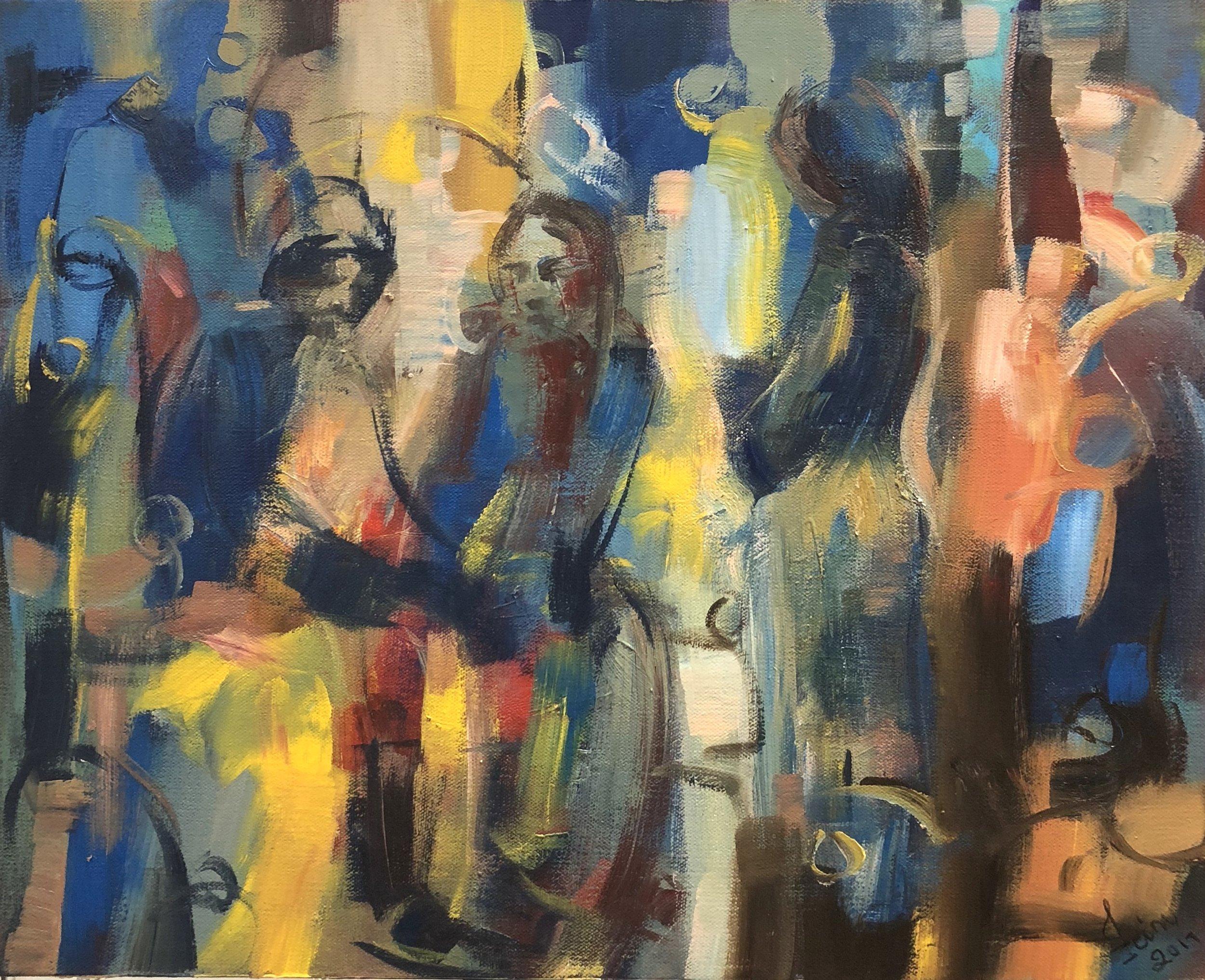 Art Village Gallery, Zeinu Mudeser, _Blue Mood_, 20_x16_,acrylic on canvas, 2016, $650.jpg