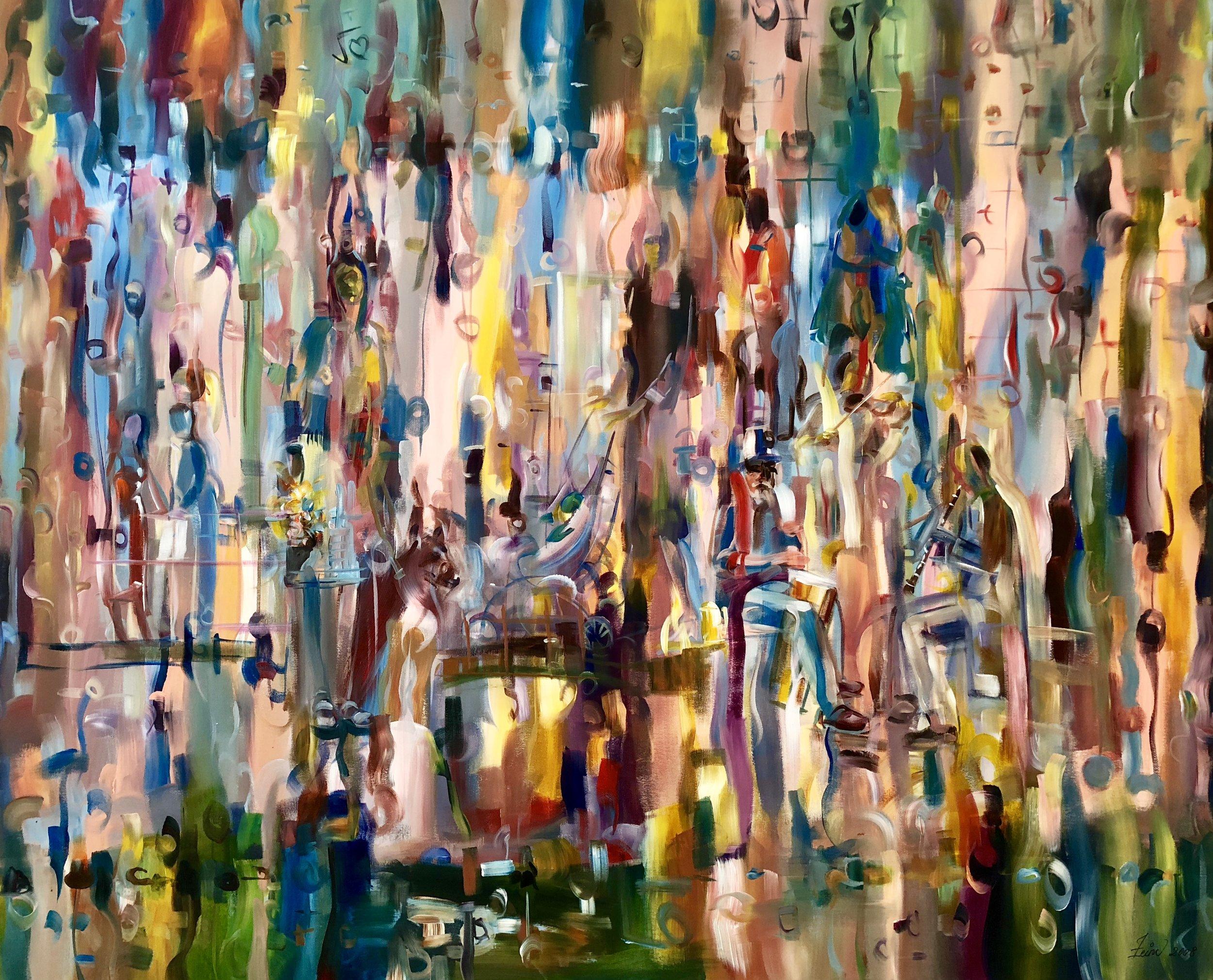 Art Village Gallery, Zeinu Mudeser, _Happy Days_ 60x48 in - acrylic on canvas-$7200.jpg